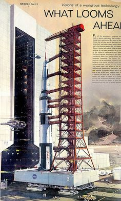 'roll-out' Saturn V- Life- Robert McCall copyright- estate of Robert McCall Apollo Space Program, Nasa Space Program, Programa Apollo, 70s Sci Fi Art, Apollo Missions, Nasa History, Kennedy Space Center, Space Race, Air Space