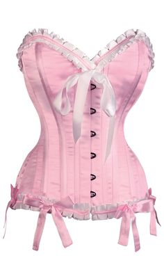 Authentic steel bone pink satin corset