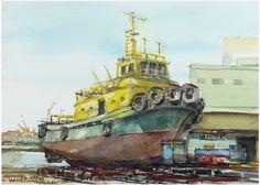 黃色拖船 Saunders Watercolour Pad 300g 31 x 23 cm Rough 水彩寫生 初六,天氣晴,這一天俗稱馬日,人們開始正式工作,下午前往基隆正濱漁港造船廠畫船。協鑫造船斜體船排上停靠一艘名為玉山的拖船。漆成黃、綠、紅三色,船身的黃色襯著藍天,顏色對比鮮明,吸引了開車經過的我。V57