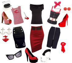 """Rockabilly Chic"" love these outfits! Looks Rockabilly, Mode Rockabilly, Rockabilly Outfits, Rockabilly Fashion, 1950s Fashion, Vintage Fashion, Lolita Fashion, Lady Like, Pin Up Outfits"
