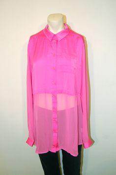 "New without tags - Free People ""Best of Both Worlds"" Sheer Chiffon Hot Pink button-up shirt! Original retail price $118. Buy it here:  http://www.ebay.com/itm/NWOT-Free-People-Best-of-Both-Worlds-Sheer-Chiffon-Button-Up-Hot-Pink-sz-L-/181263788513?pt=US_CSA_WC_Shirts_Tops&hash=item2a3429e9e1"