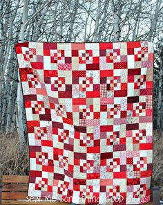 """Scrappy Bento Box Block – Tutorial"" Free Quilt Pattern from Sew Me Something Good Quilting Tutorials, Quilting Designs, Quilting Ideas, Quilt Block Patterns, Quilt Blocks, Two Color Quilts, Red And White Quilts, Japanese Quilts, Fibre And Fabric"