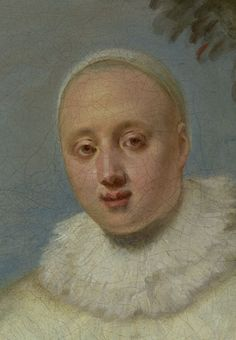 The face of an entertainer. The Italian Comedians (detail), Jean-Antoine Watteau, about 1720, oil on canvas. J. Paul Getty Museum