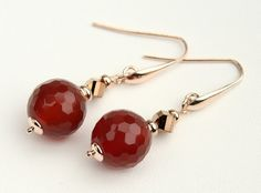 Carnelian Agate Balls, Czech Crystals Beads, Sterling Silver 925 Rose Gold Plated 24 Kt, Handmade Italian Earrings, Gift for Woman  7588
