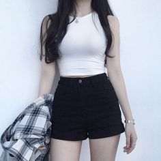 Stylish Outfit Combinations For A Club Night - Page 17 of 46 - bestcombin Kpop Fashion Outfits, Girls Fashion Clothes, Edgy Outfits, Korean Outfits, Cute Casual Outfits, Short Outfits, Pretty Outfits, Girl Outfits, Korean Girl Fashion