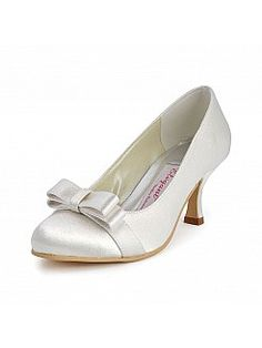 Mid Heels Round Toes Satin Wedding Pumps with Bow Detail - GBP £51.86