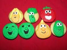 Veggie Tales cupcakes....totes cute!!!!!