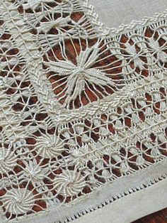 "Antique Linen Drawn Work Lace Doilies (corner detail) ~ likely worked as drawn work lace ""samplers"" to show off exceptional skill in this art form. Offered as found, in clean and excellent condition.  c.1900  9"" square ~ sold by Em's Heart Antique Linens"