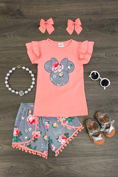 Coral Minnie Pom Pom Short Set
