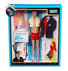 "Ken wearing swim trunks - circa 1961  ""Victory Dance"" fashion - circa 1964"