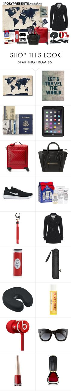 """""""New Year's Resolutions - Travel More"""" by aletamaria on Polyvore featuring Trademark Fine Art, Griffin, Gucci, CÉLINE, NIKE, Kiehl's, A.S.P, Burberry, Kate Spade and MANGO"""