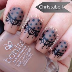 The fabulous @badgirlnails totally inspired me to finally do a lace design.  I love love love what she did and ended up doing two different lace nail designs after I saw hers.  I didn't have a sheer black so I made my own ... check out my  YouTube tutorial  for details #nailartmar #notd #instanails #lacenails  Polishes Used:  @bonitacolors A Latte On My Mind (beige), @lancomecanada Grey Lumiere, and @simplyspoiledbeauty Black Two-way Nail Brush (remember CBELL for 35% off your order) and my