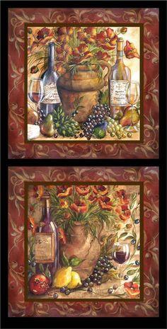 Tre Sorelle Art for Home Decor Wine Bottle Art, Wine Art, Grape Kitchen Decor, Italian Home Decor, Decoupage Printables, Italian Paintings, Wine Decor, Tile Murals, Victorian Art
