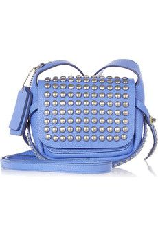 Coach Dakotah studded textured-leather shoulder bag | NET-A-PORTER