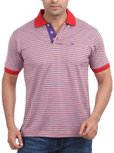 If red is your color then, Park Avenue Leisure Men Red t-shirt is sure to catch your eye. This medium red polo neck t-shirt has pinstripe in two colors. This Park Avenue t-shirt has dark red collar and sleeve hem. The bold use of medium purple on the button panel of the t-shirt makes it look trendy yet elegant. Wear it with black or blue denims and sneakers. This 100% cotton t-shirt will keep you cool in a hot climate. Polo Neck, Park Avenue, Dark Red, Neck T Shirt, Blue Denim, Button, Elegant, Medium, Purple