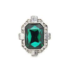Emerald Deco - Vintage inspired art deco ring featuring oversized emerald stone with rhinestone boarder  S/M fit
