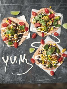 Chicken Tacos Black Beans, Avo, Corn & Cherry Toms - The Happy Foodie
