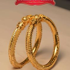 Designer Gold Bangle Designs for Women - Kurti Blouse Gold Bangles Design, Gold Earrings Designs, Gold Jewellery Design, Gold Jewelry, Gold Designs, Quartz Jewelry, Jewellery Earrings, Temple Jewellery, Handmade Jewellery