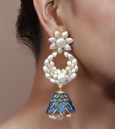 Stone & Pearl Embellished Jhumki Earrings by Indiatrend Shop now on www.indianroots.com