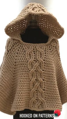 Milena Hooded Poncho Crochet Pattern – Crochet this chunky and warm poncho. With… Milena Hooded Poncho Crochet Pattern – Crochet this chunky and warm poncho. With a decorative twist cable design & cosy hood it is perfect for chilly days. Shawl Crochet, Gilet Crochet, Crochet Poncho Patterns, Crochet Cardigan, Crochet Lace, Knitting Patterns, Scarf Patterns, Knitted Shawls, Chunky Crochet