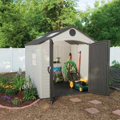 """60015 - 53 square ft. (362 cubic ft.) - The Lifetime 8' x 7.5' Outdoor Storage Shed features: (2) large skylights, (3) small skylights, (1) shatter-proof polycarbonate window, (2) screened vents, (1) pegstrip, (1) 90"""" x 9"""" shelf, and a 10-year limited warranty. Floor and installation hardware included. Comes in (2) boxes."""