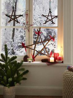 weihnachts fensterdeko auch selbst basteln mit natur materialien