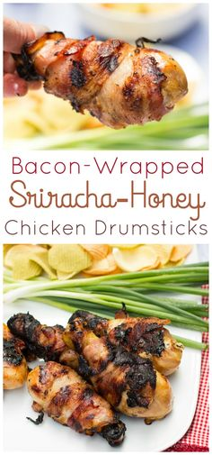 Easy bacon-wrapped chicken drumsticks are flavored with honey, soy, and Sriracha!