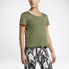 Nike Dry (City) Women's Short Sleeve Running Top Size Medium (Green) - Clearance Sale
