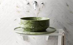 """Nabhi Bowl No. 2"" marble sink in Verde Ming marble by Kreoo"