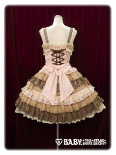 Back ジャンパースカート/Dot Millefeuille jumper skirt ピンク×マロン×チョコレート Pink x Marron x Chocolate Lolita Baby the Stars Shine Bright