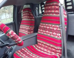 A Set of Blue Artez Print Seat Covers and Steering by ChaiLinSews