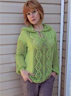 Летний пуловер с капюшоном
