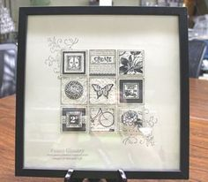 Lovely framed art piece using Postage Due and other stamp sets.