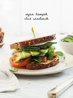 Tempeh Vegan Club Sandwiches #sponsored by @eurekabread #dontbebland #eurekabread