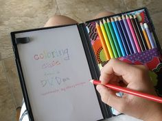 Coloring cases made from recycled DVD cases.