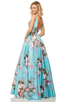 Sherri Hill - 52814 Floral Print Square A-Line Gown Designer Prom Dresses, Prom Dresses Online, Homecoming Dresses, Bride Dresses, Formal Evening Dresses, Summer Dresses, Figure Skating Dresses, Perfect Prom Dress, A Line Gown