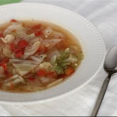 Healing Cabbage Soup Recipe Soups with olive oil, onions, garlic, water, chicken bouillon granules, salt, black pepper, cabbage, italian style stewed tomatoes