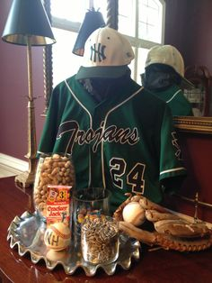 Baseball centerpiece - raised jersey as centerpiece, jersey number as table number, with glove, ball, etc, at base?