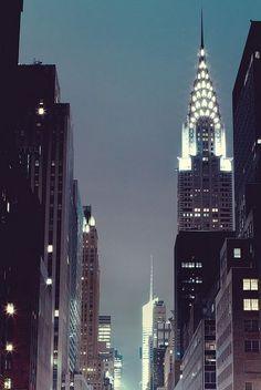 New York City sky lights at the Chrysler Building