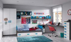 #Dormitorio juvenil de la colección Niu de Kibuc. Acabado Pizarra, blanco poro y cian. Medida L425xL190 cm