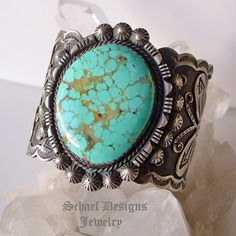 Albert Cleveland Native American Turquoise Jewelry | Men's Southwestern turquoise jewelry | Huge XL sterling silver