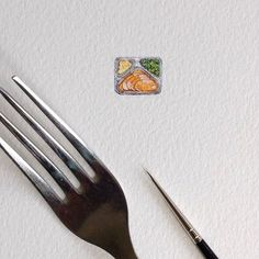 This is a miniature painting by Brooke Rothshank. Its painted on 4 1/2 by 6 paper. This piece is unframed. The fork and paintbrush are not included,