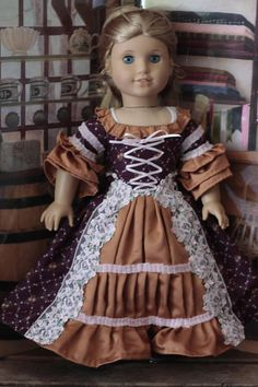 Elizabeth's Colonial Autumn dress for 18in American girl