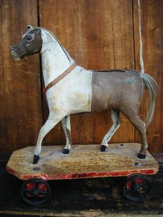 RESERVED for Shannon Antique 1800's Horse Pull Toy 129