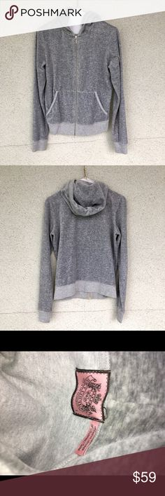 Juicy Couture Jacket Gray juicy couture zip up jacket size L, authentic and really soft. Clean, lightly worn, no stains. Juicy Couture Jackets & Coats