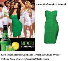 Kim Kardashian in Midori Green Bandage Dress. Get the look @ www.fashionfetish.co.uk