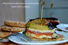 Recetas para invitados: montaditos de berenjena con queso mozzarella