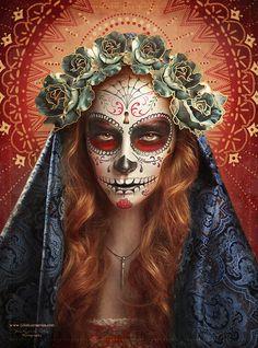 Photograph Dia De Los Muertos - Sugar Skull 2 by Julia Kuzmenko McKim on 500px Sugar Skulls, Sugar Skull Images, Sugar Skull Artwork, Sugar Skull Makeup, Candy Skulls, Santa Muerte, Sylvia Ji, Halloween Make Up, Halloween Treats