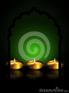 Oil lamp with place for  diwali diya greetings over dark green background