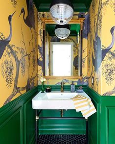 The Chinoiserie Powder Room (Chinoiserie Chic) Architecture Restaurant, Bold Wallpaper, Wallpaper In Powder Room, Green Floral Wallpaper, Bathroom Interior, White Bathroom, Small Bathroom, Boho Bathroom, Bling Bathroom